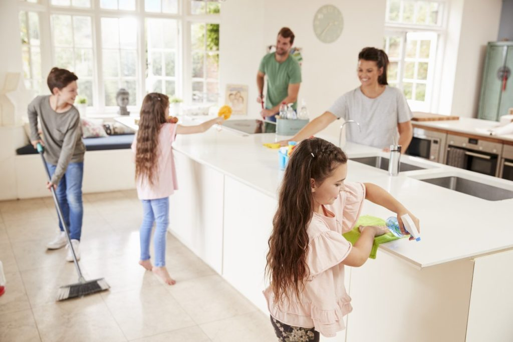 Children Helping their Parents With Household Chores and the Spring Clean