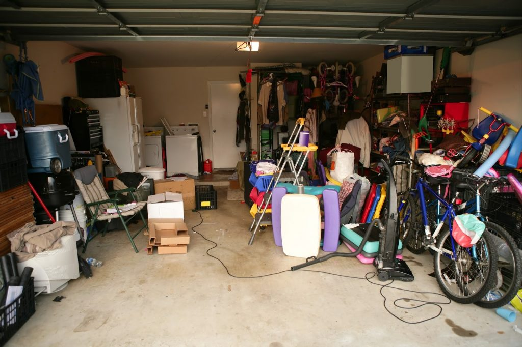 messy abandoned garage full of stuff, chaos at home