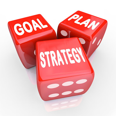 dice with text goal. plan, strategy