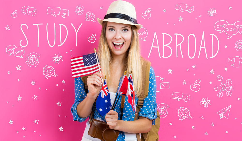 Budget Storage for when you are abroad! - Study Abroad text with young woman with flags of English speaking countries