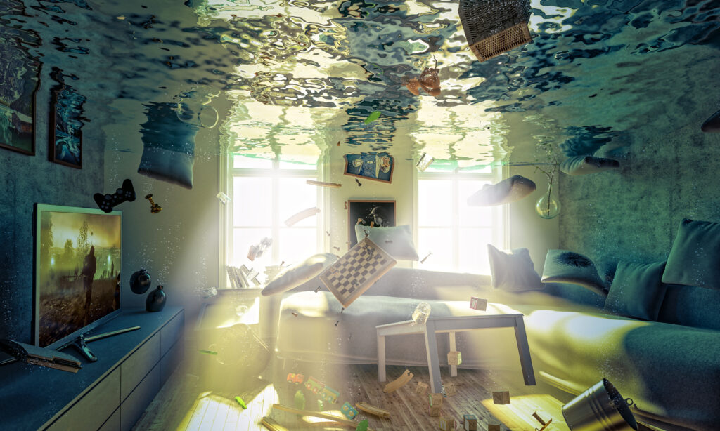 A flooded living room!